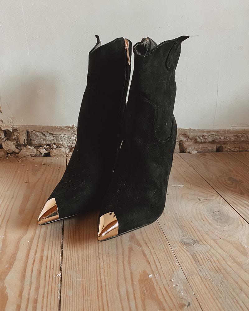 Black Suede Boots Golden Detail