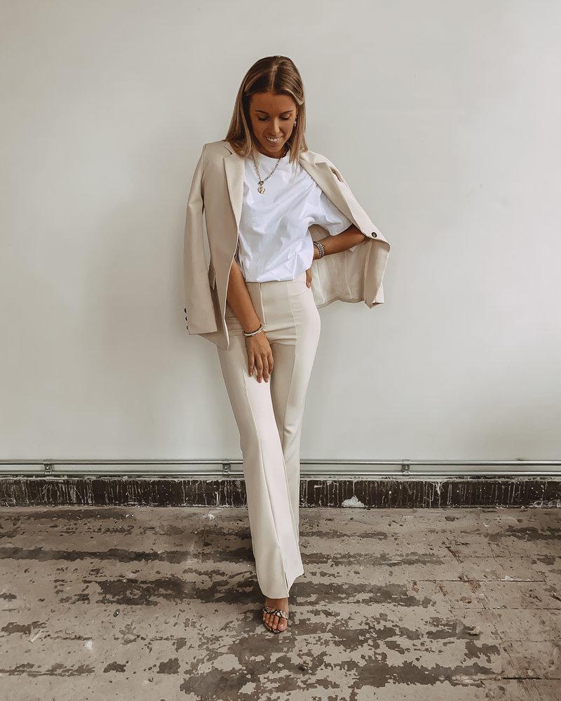 Crème  Split Classic Trouser