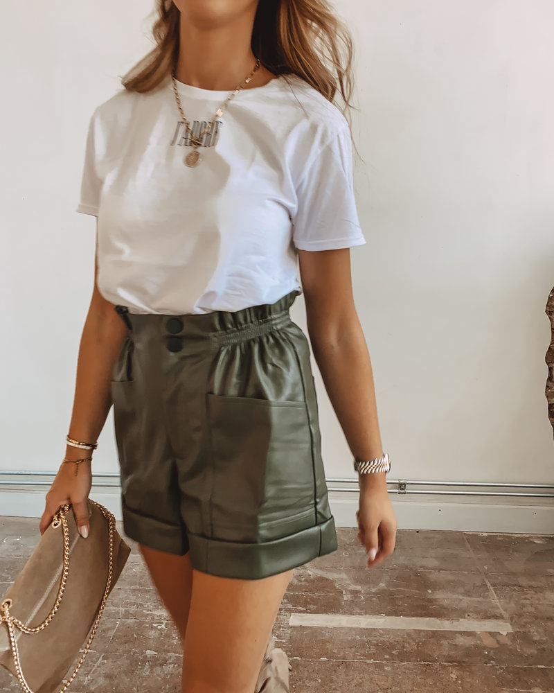 Kaki Leather Short