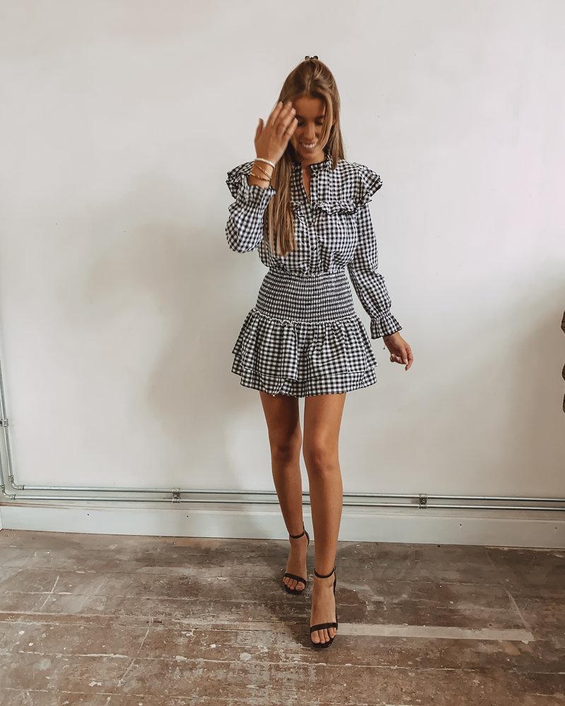 Black Check Stretch Skirt