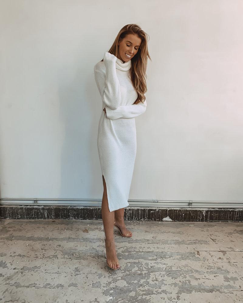 Winter White Long Soft Split Dress