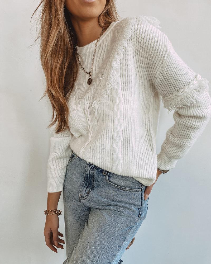 White Frill Winter Sweater