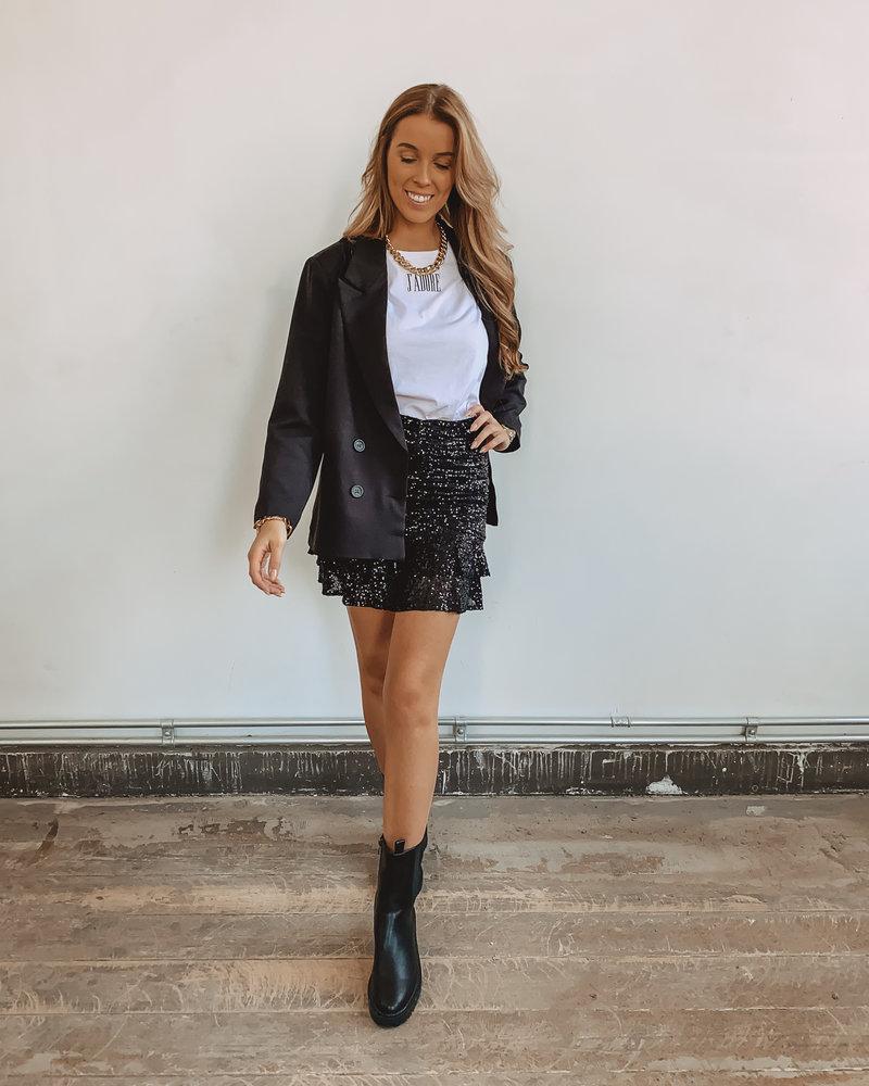 Black Ruffle Glitter Skirt