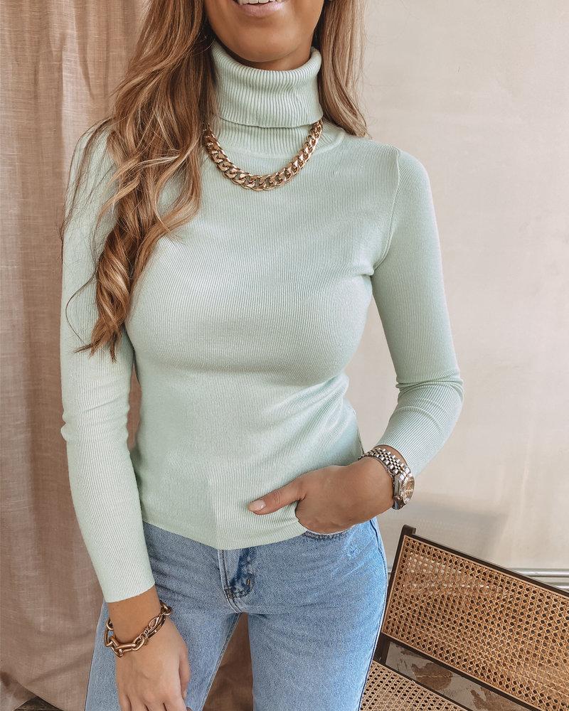 Mint Green Roll Collar