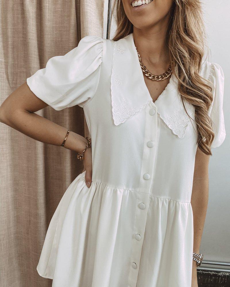 Romantic Collar White Dress