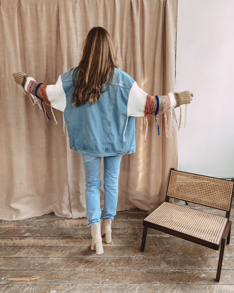Blue Straight Ripped Jeans