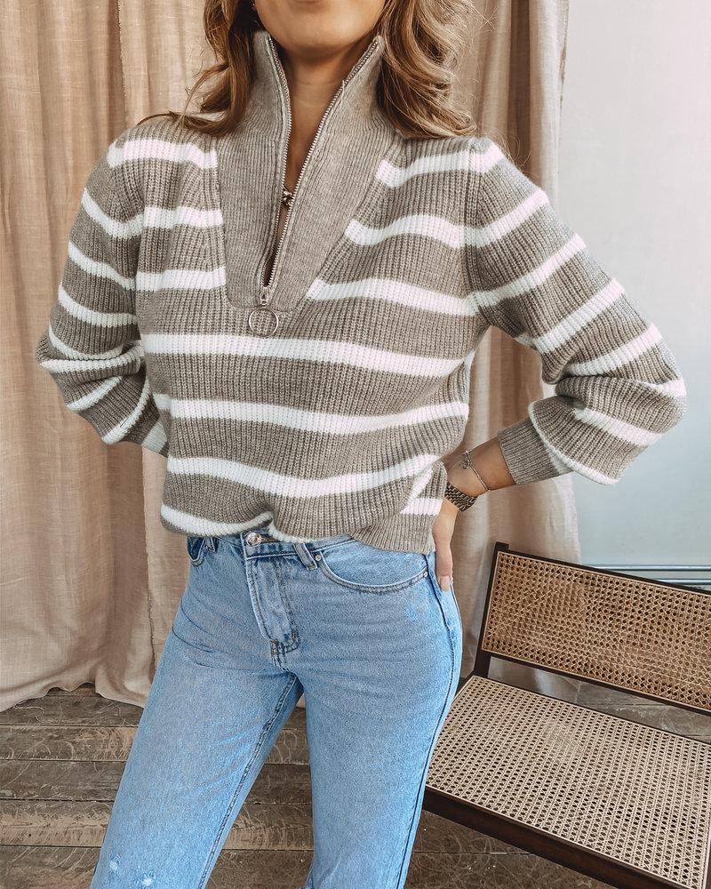 Taupe Stripe Sweater