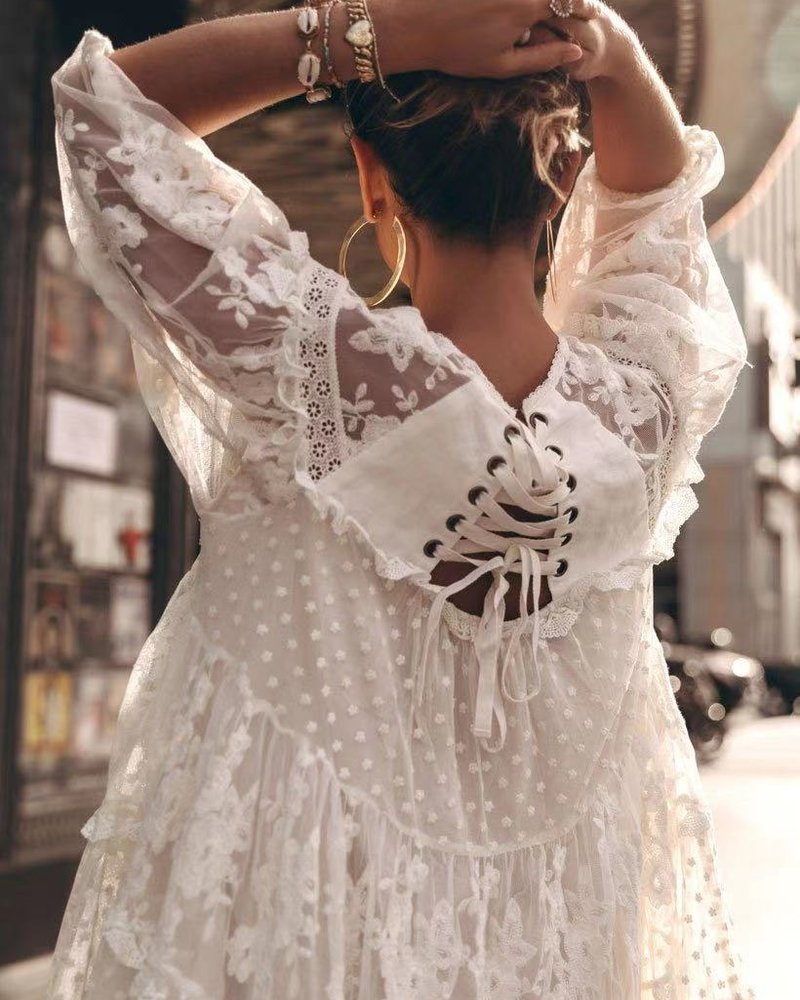 White Perfect Summer Lace Dress