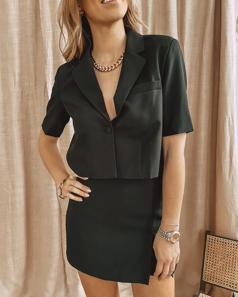 Black Short Button Jacket