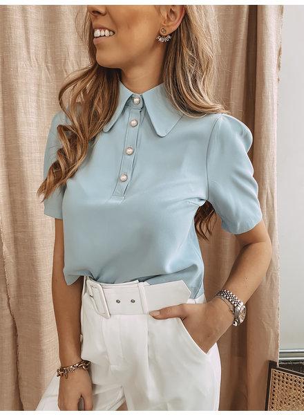 Blue Cute Collar Blouse