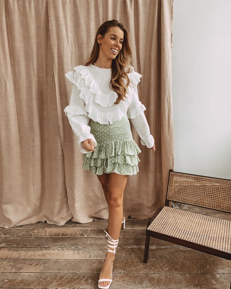 Mint Green Skirt White Dot