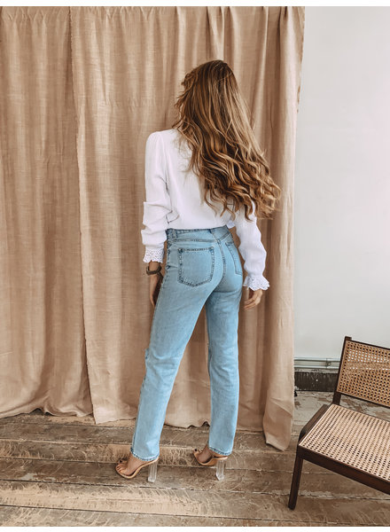 Blue Ripped Straight Jeans