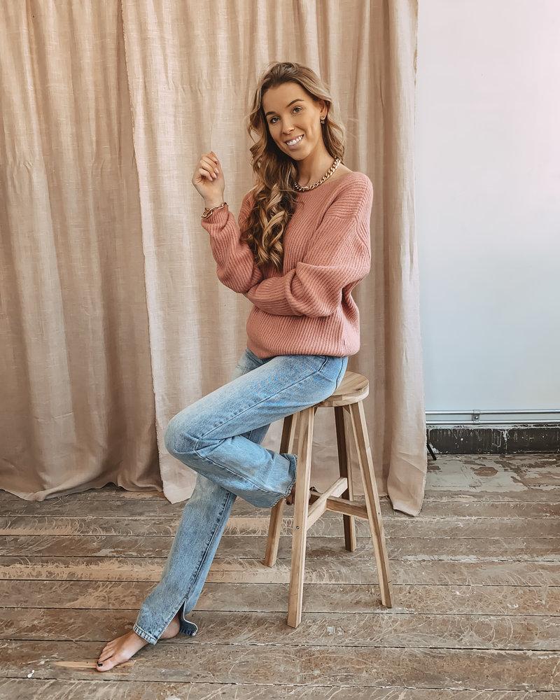 Oversized Deep Back Sweater Pink