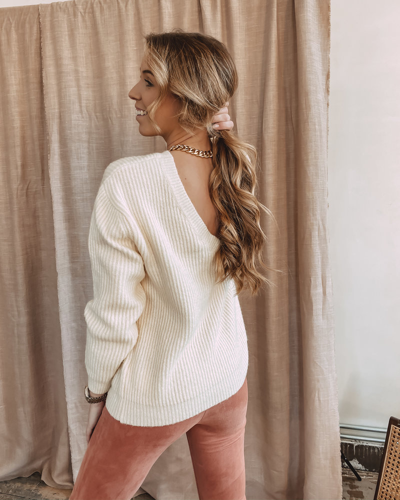 Oversized Deep Back Sweater Crème