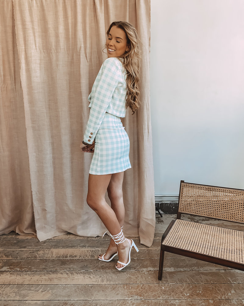 Mint Checked Button Skirt