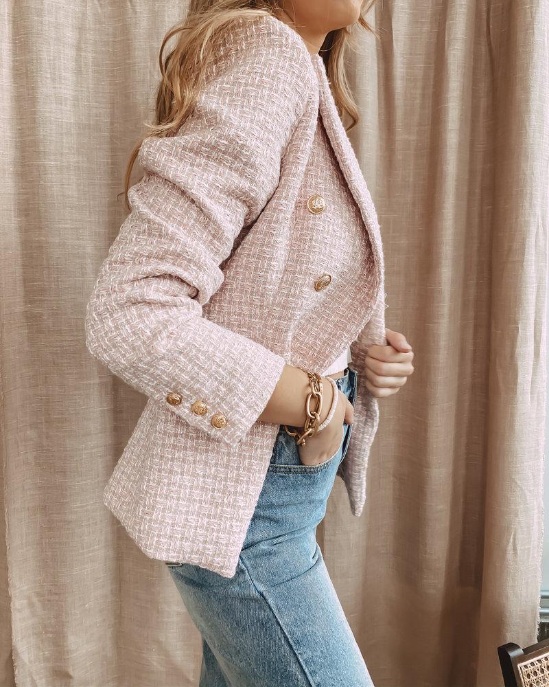 Pink Balmain Inspired Blazer