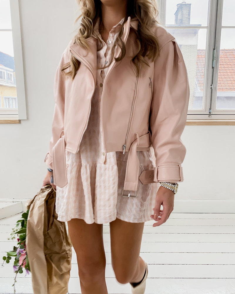 Cute Pink Leather Jacket