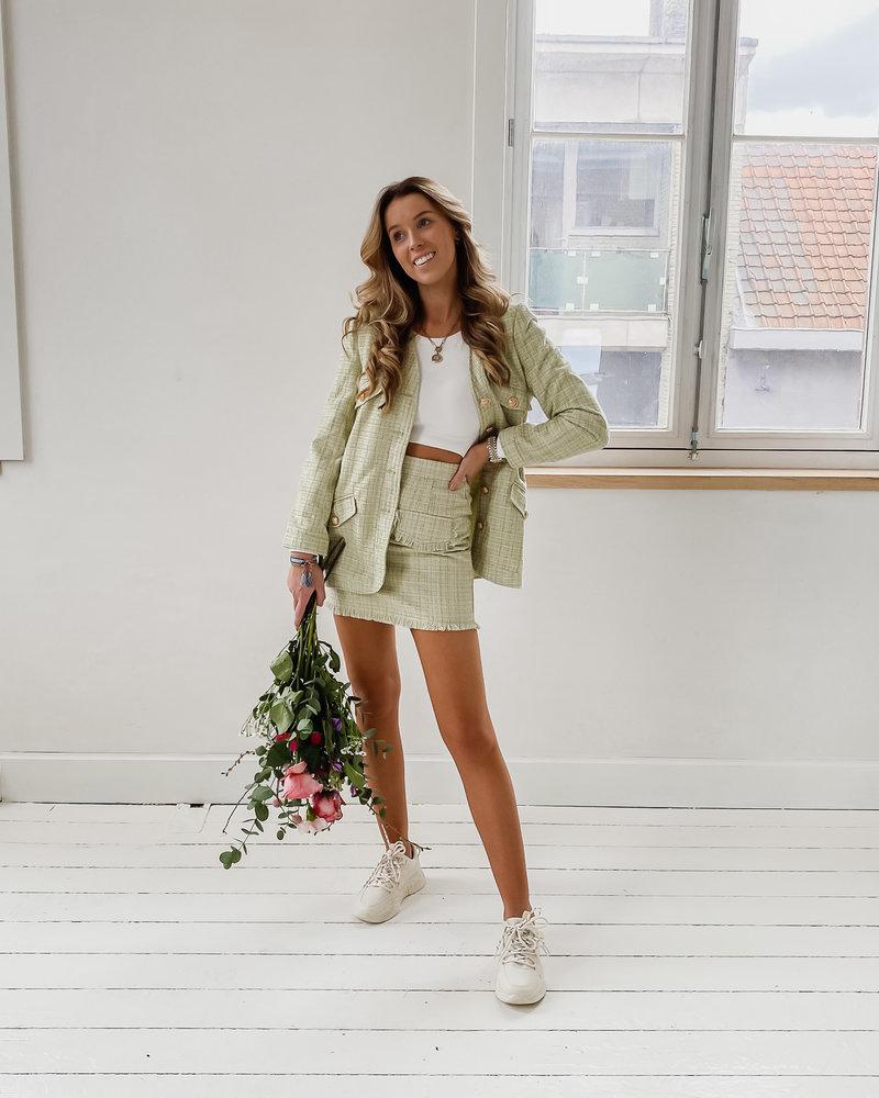 Sophia Mint Green Golden Button Jacket