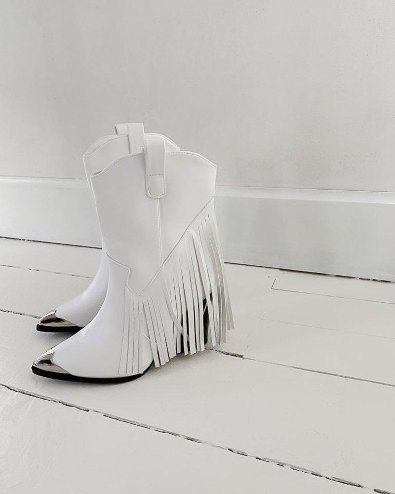 White fringe leather boots