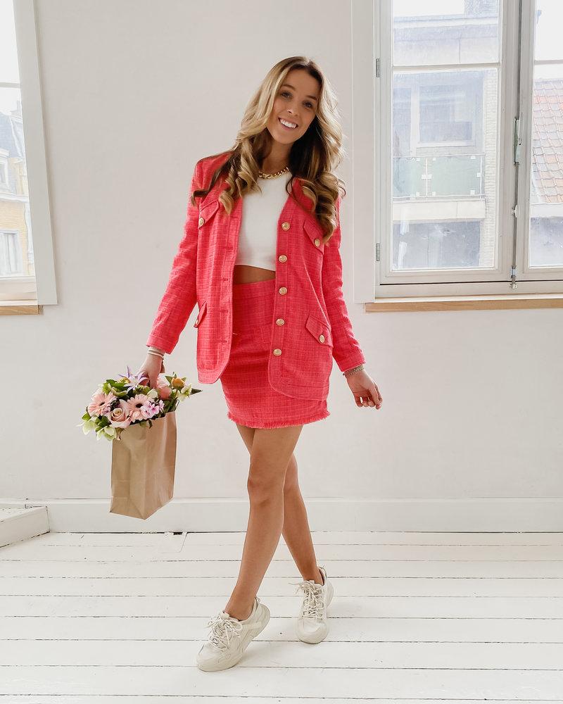 Sophia Pink Golden Button Jacket