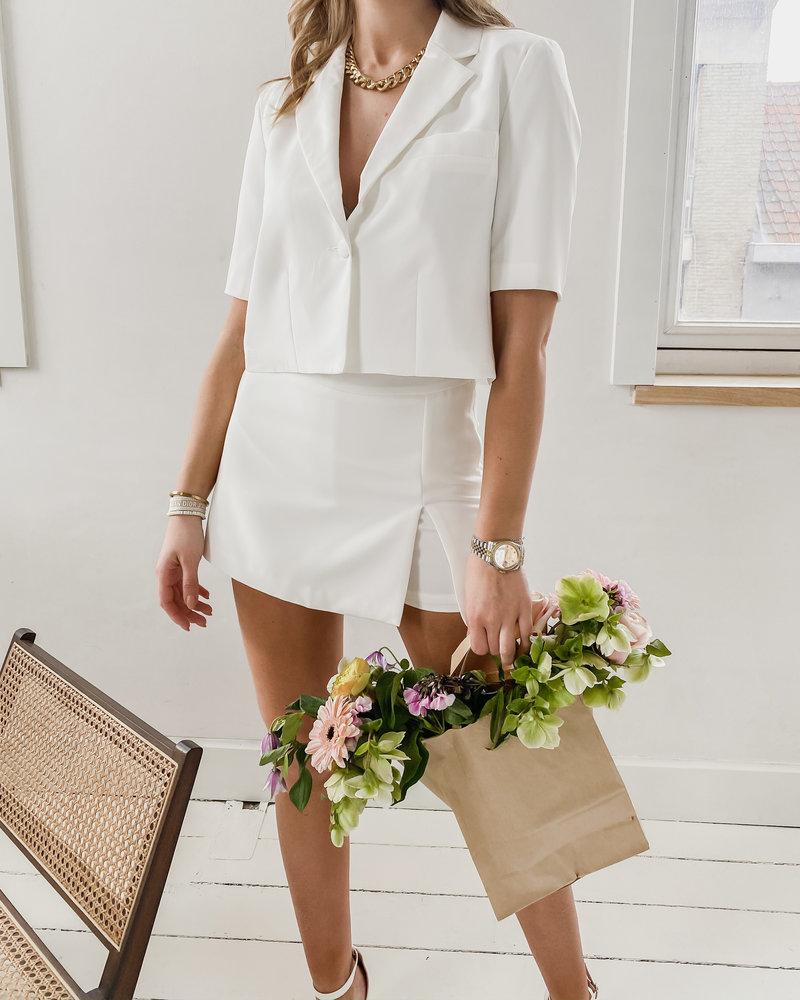 White Split Summer Short