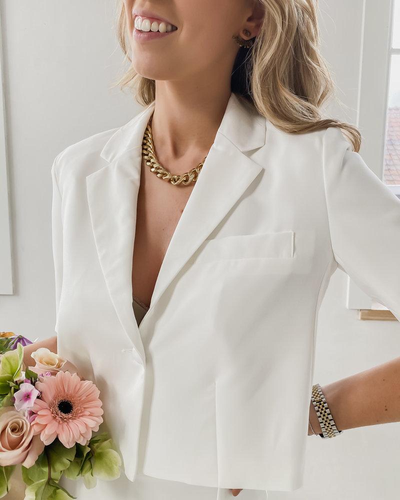 White Short Button Jacket