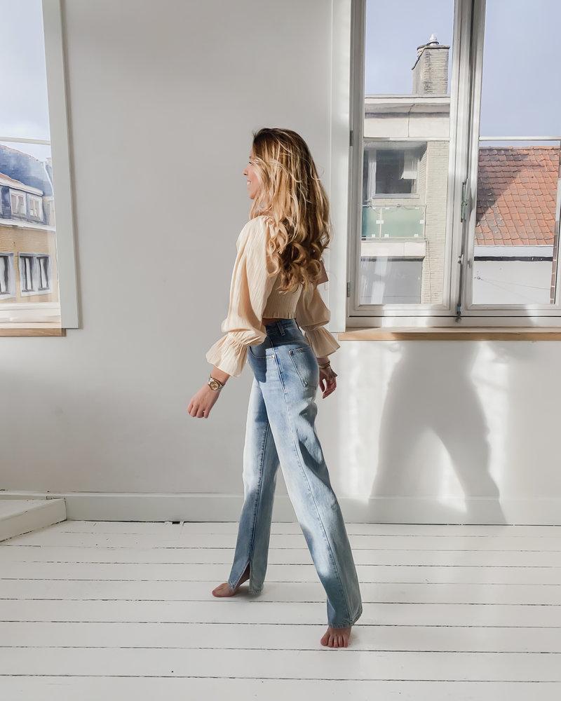 Blue-Grey Split Jeans