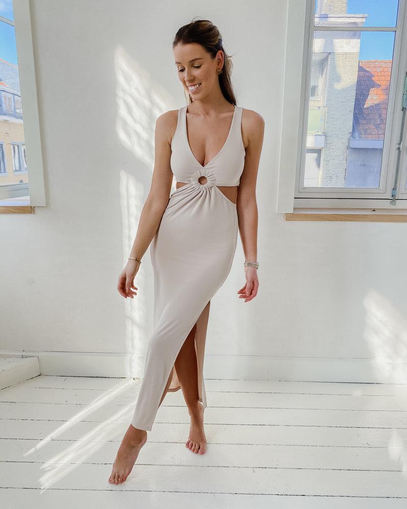Beige Cut Out Summer Dress