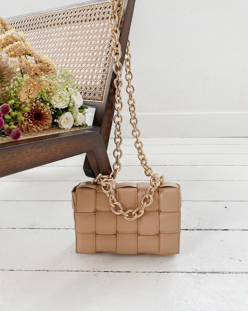 Beige Leather Chian Bag