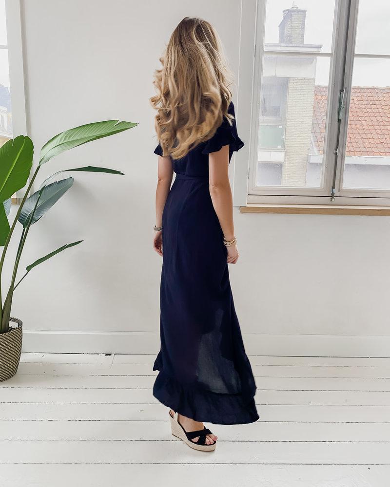 Long Black Wrap Boho Dress