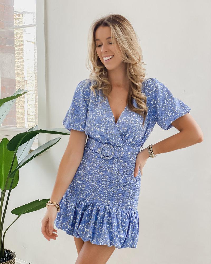 Blue Belted Floral Dress