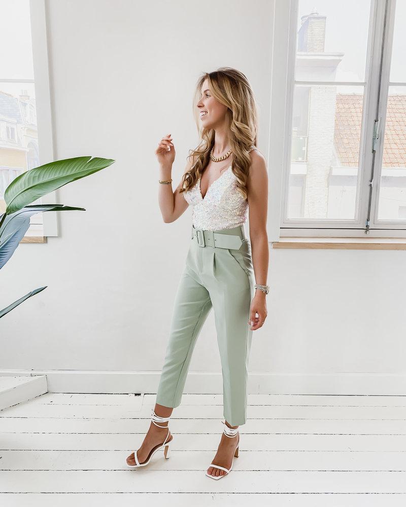 Mint Green Lucy Belt trouser