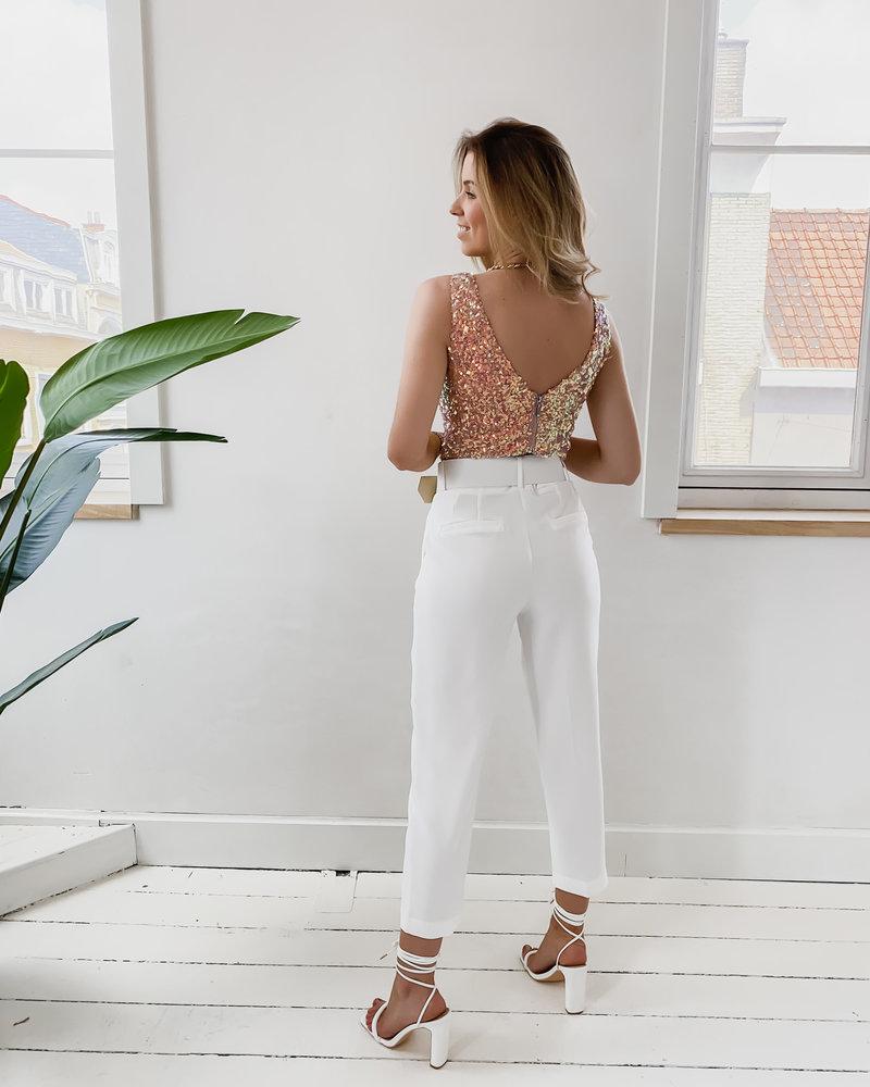 White Lucy Belt trouser