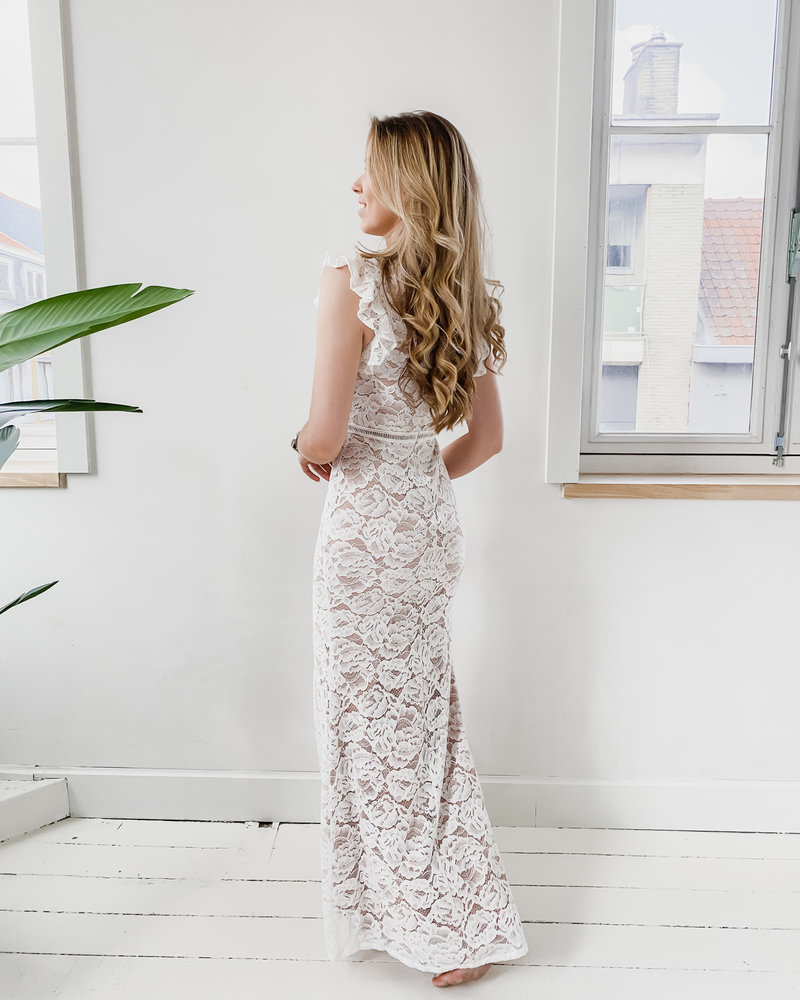 White Long Braidel Dress