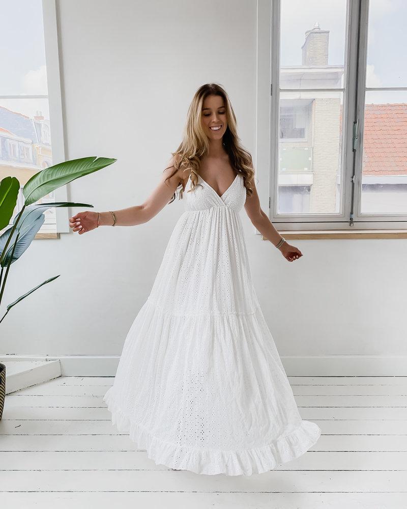 White Long Thick Lace Dress