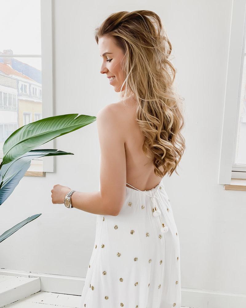 Golden White Open Back Dress