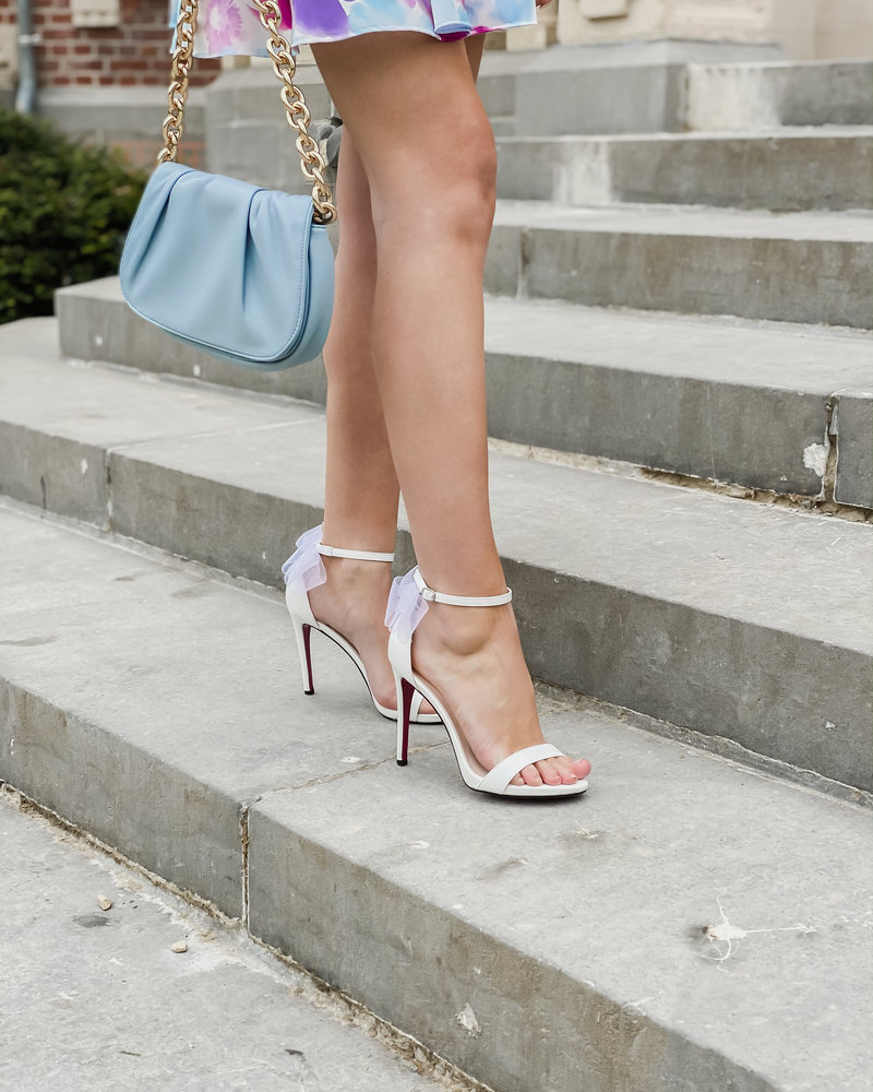 White Summer Bow Heels