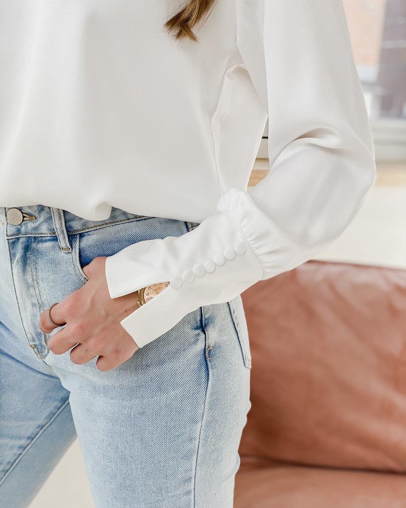 Button White Silky Blouse