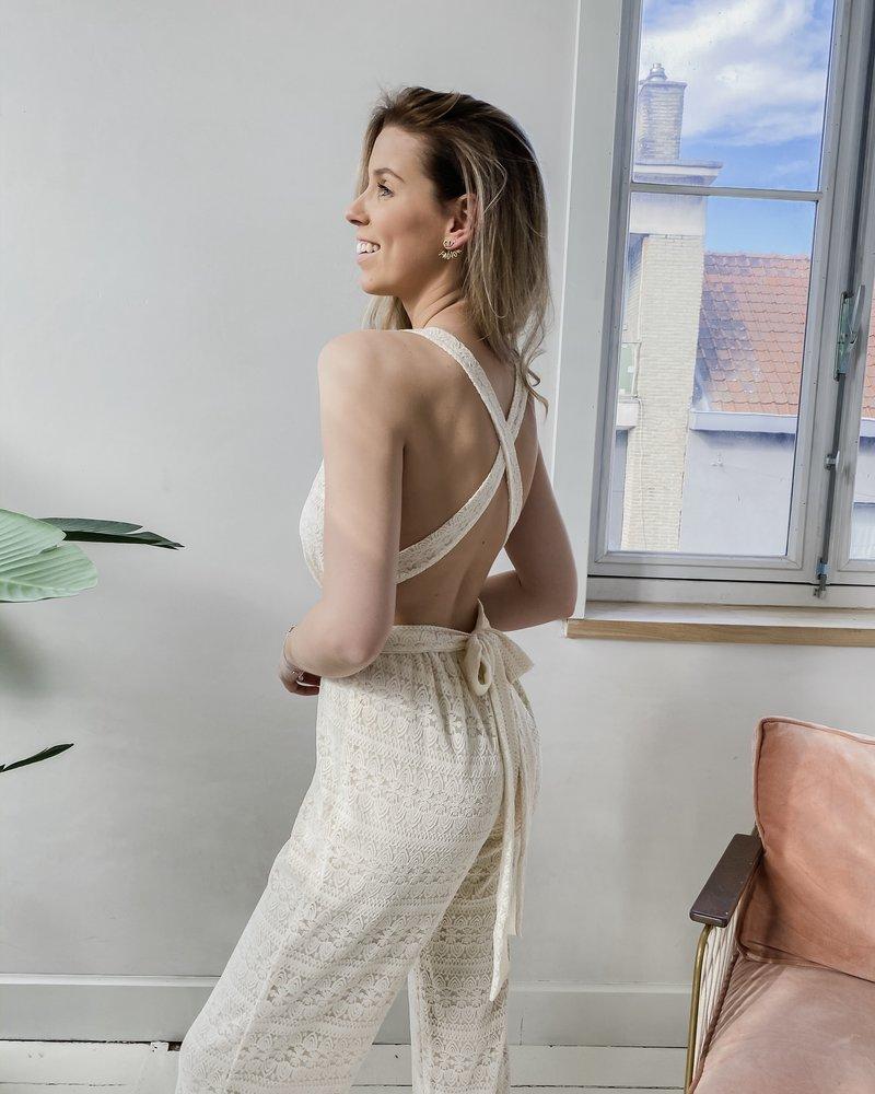 Lace Open Back Jumpsuit