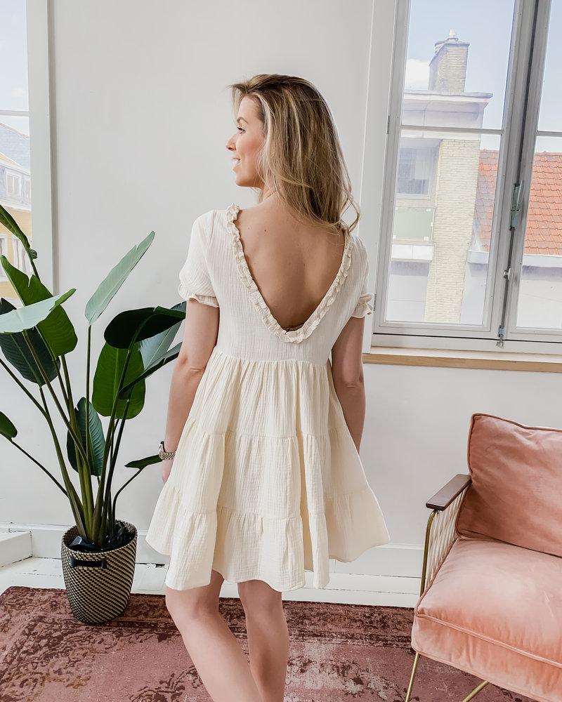 Beige Open Back Tetra Dress