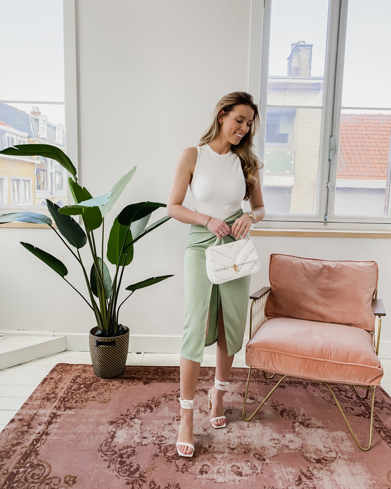 Mint Green Bow Satin Skirt