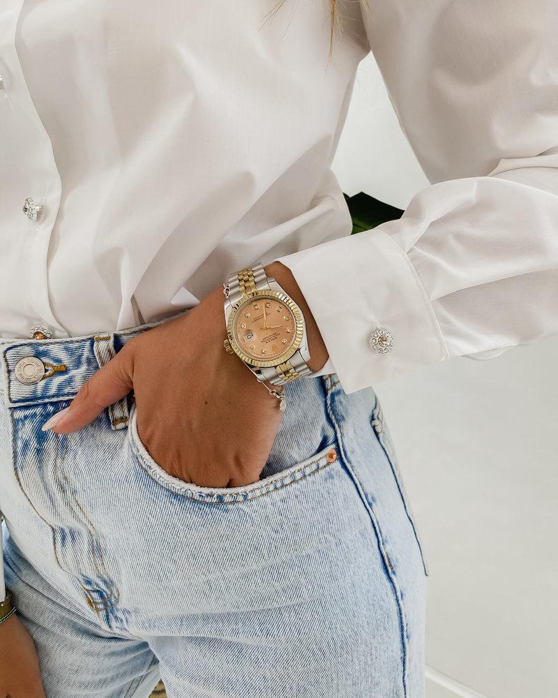 White Diamond  Button Blouse