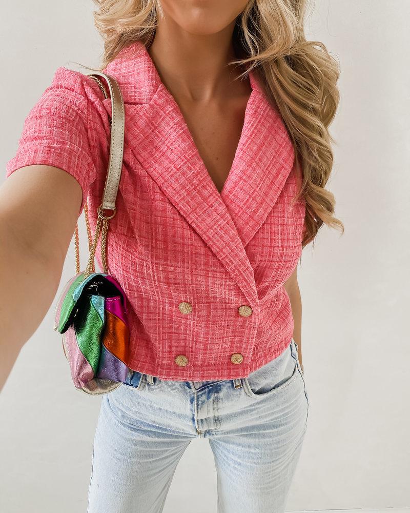 Pink Golden Crop Blazer