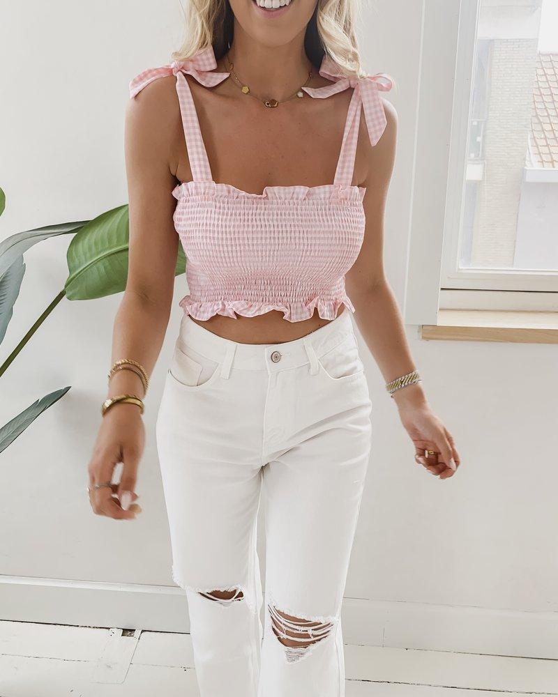 Pink Vichy Bow Top