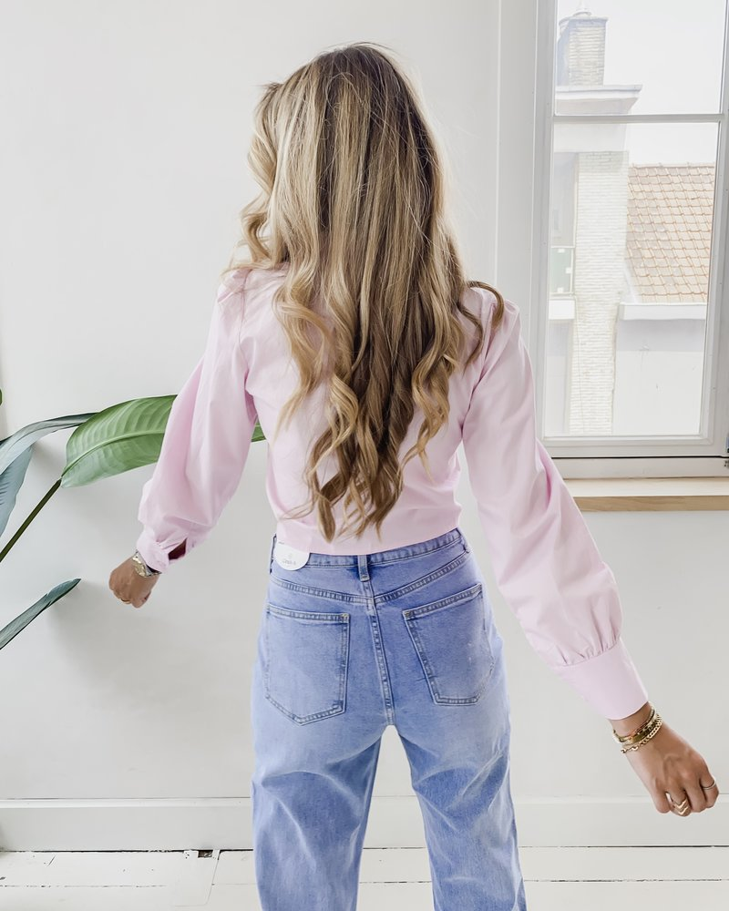 Pink Cotton Bow Blouse