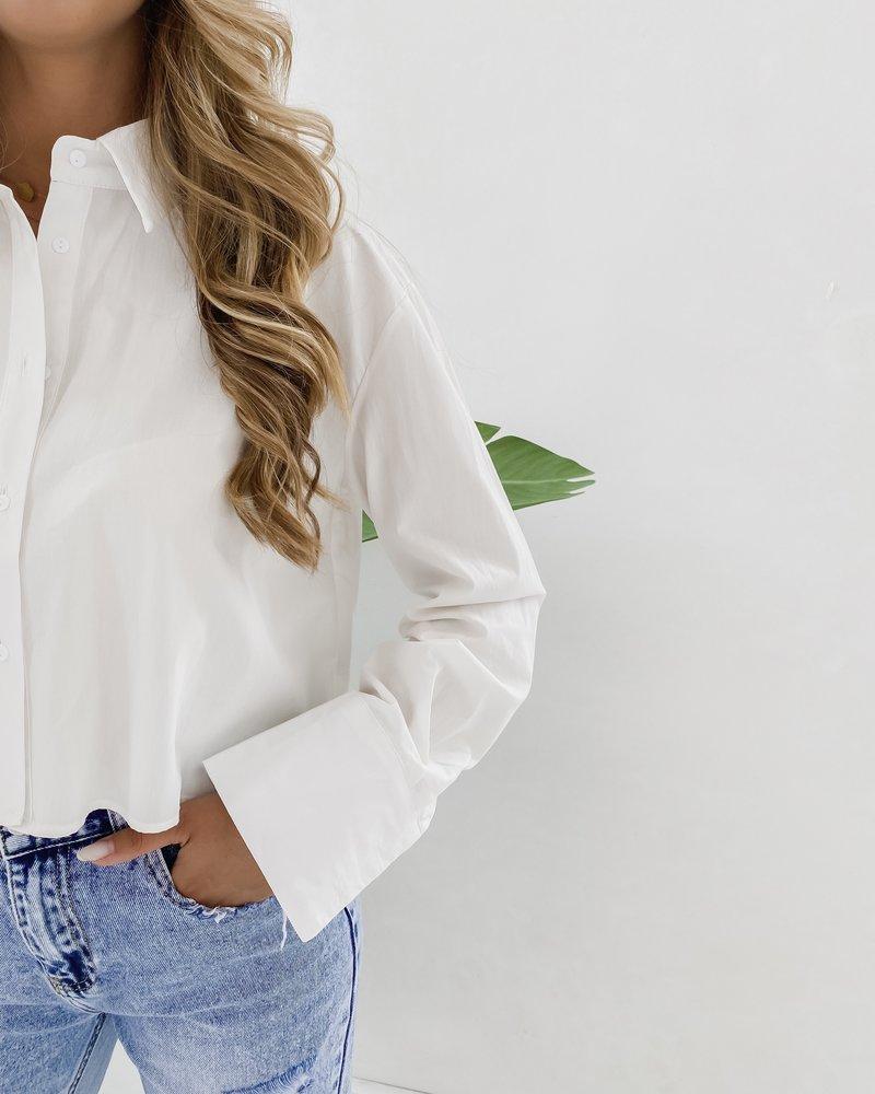 White Crop Cotton Blouse