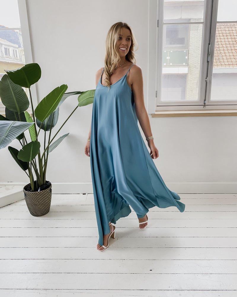 Ocean Green Long Satin Summer Dress