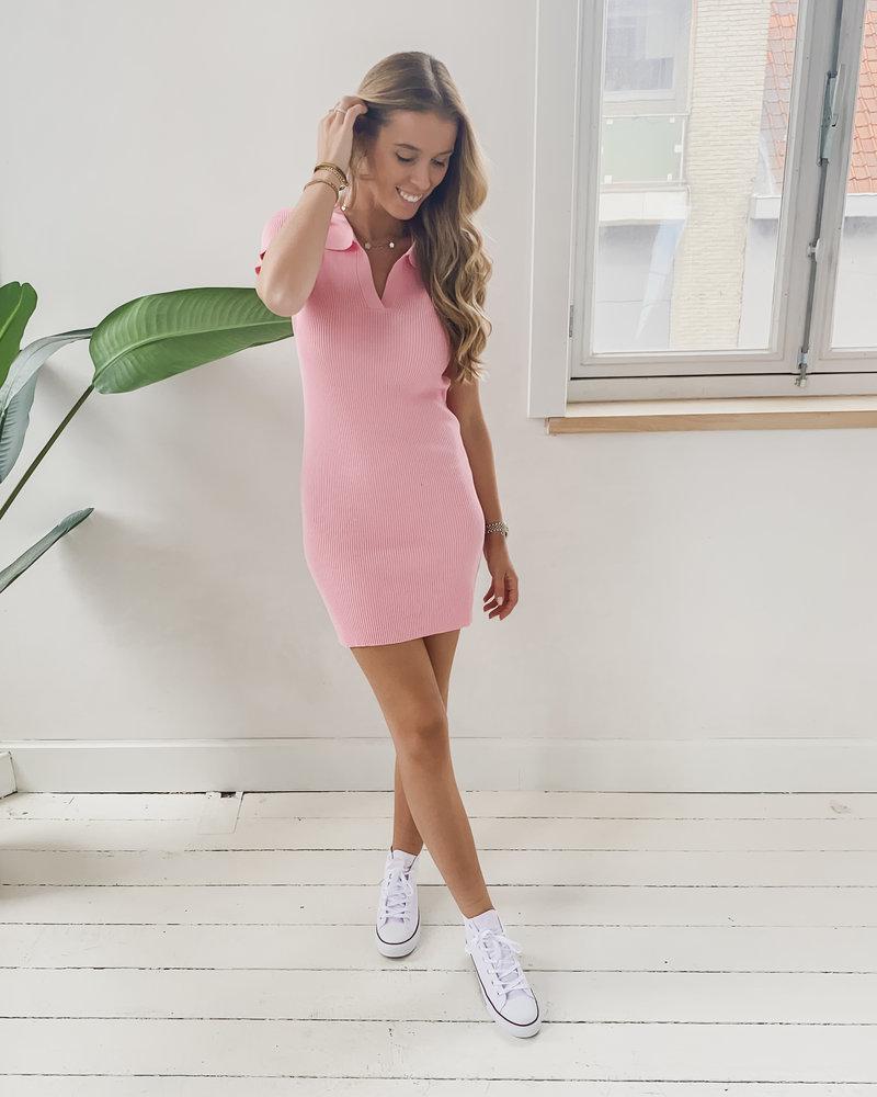 Pink Stretch Collar Dress