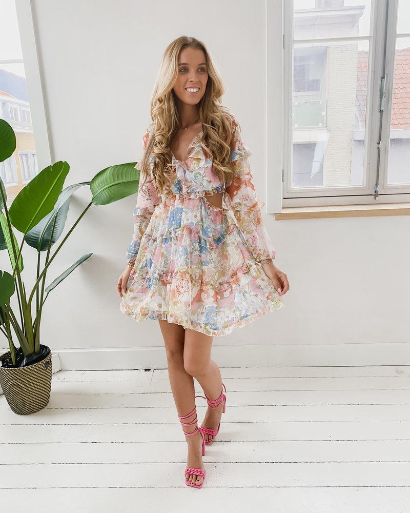 Cut Out Flower Print Dress
