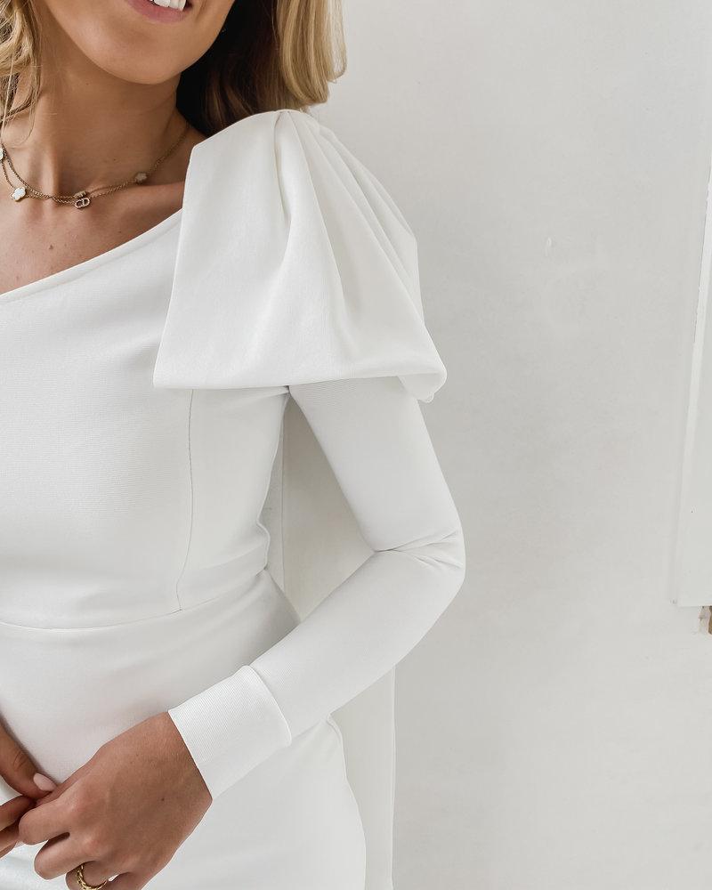 White Long Bow Dress